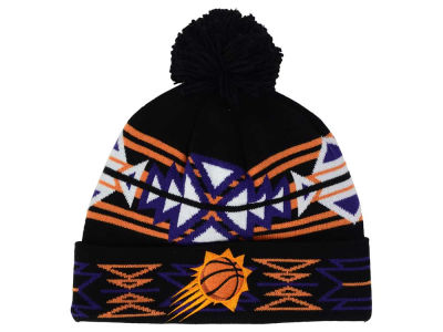 Phoenix Suns Mitchell and Ness NBA Black Geotech Cuffed Pom Knit