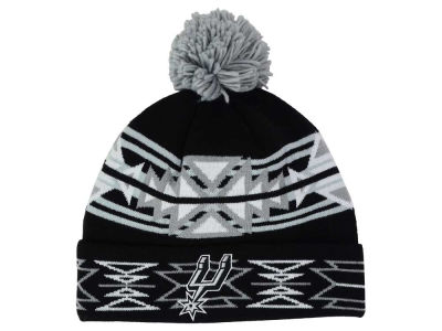 San Antonio Spurs Mitchell and Ness NBA Black Geotech Cuffed Pom Knit