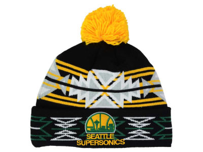 Seattle SuperSonics Mitchell and Ness NBA Black Geotech Cuffed Pom Knit