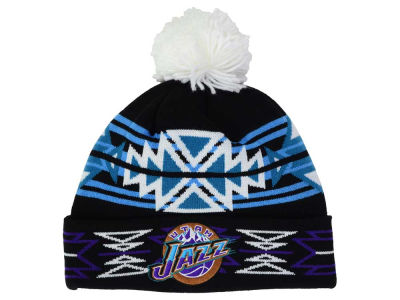 Utah Jazz Mitchell and Ness NBA Black Geotech Cuffed Pom Knit
