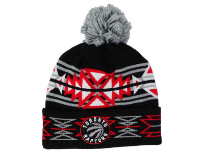 Toronto Raptors Mitchell and Ness NBA Black Geotech Cuffed Pom Knit