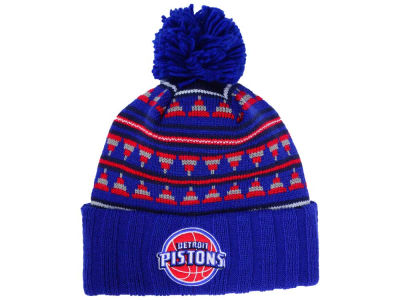 Detroit Pistons Mitchell and Ness NBA Mixtec Pom Knit