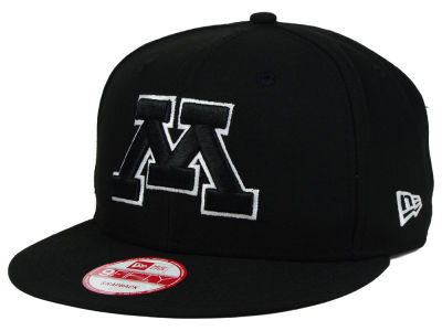 Minnesota Golden Gophers New Era NCAA Black White Fashion 9FIFTY Snapback Cap