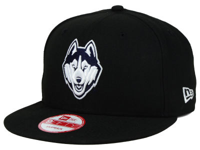 Connecticut Huskies New Era NCAA Black White Fashion 9FIFTY Snapback Cap