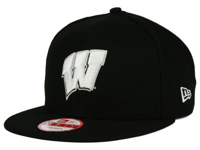 Wisconsin Badgers New Era NCAA Black White Fashion 9FIFTY Snapback Cap