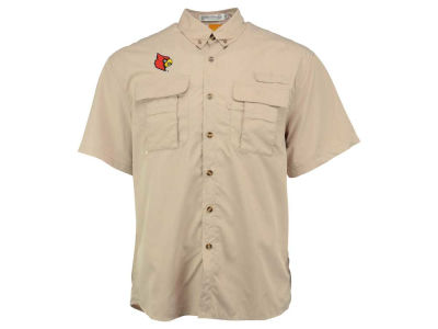 Louisville Cardinals NCAA Men's FishWare Short Sleeve Fishing Button Up Shirt