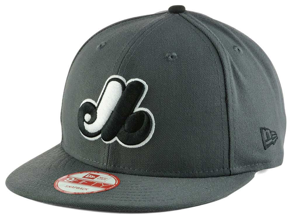 ecc0ef3336f08 Montreal Expos New Era MLB Gray Black White 9FIFTY Snapback Cap ...