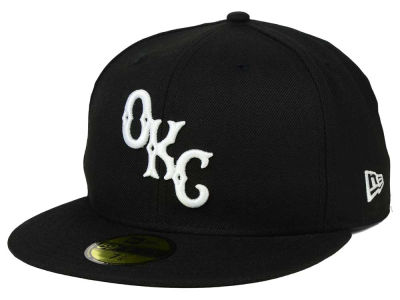 Oklahoma City Dodgers New Era MiLB Black and White 59FIFTY Cap