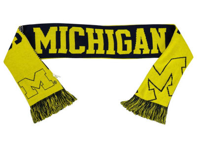 Michigan Wolverines Acrylic Knit Scarf Reversible Split Logo