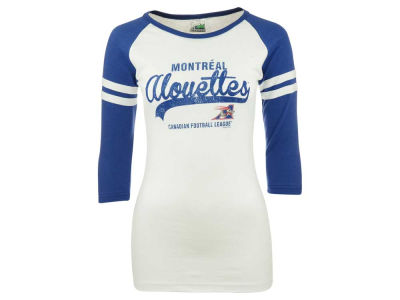 Montreal Alouettes CFL Women's Washed Super Dodger 3/4 Sleeve 2 Stripe T-Shirt