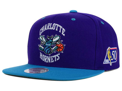 Charlotte Hornets Mitchell and Ness NBA 50th Snapback Cap