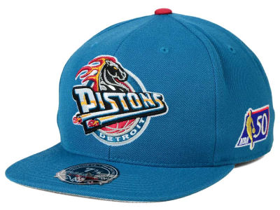 Detroit Pistons Mitchell and Ness NBA 50th High Crown Fitted Cap