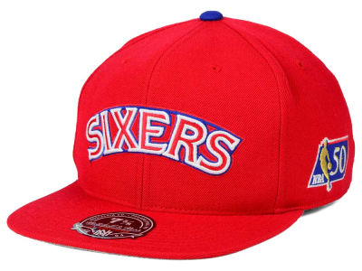 Philadelphia 76ers Mitchell and Ness NBA 50th High Crown Fitted Cap
