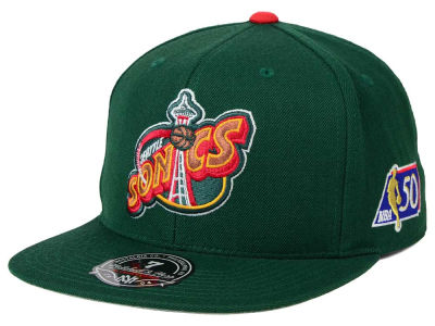 Seattle SuperSonics Mitchell and Ness NBA 50th High Crown Fitted Cap