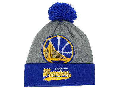 Golden State Warriors Mitchell and Ness NBA Heather Tailsweep Pom Knit