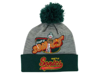 Seattle SuperSonics Mitchell and Ness NBA Heather Tailsweep Pom Knit