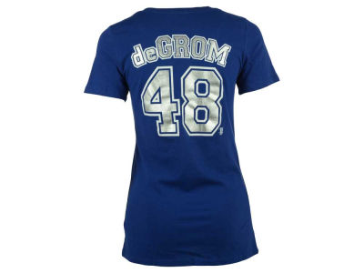 New York Mets Jacob deGrom MLB Women's Foil Player V-Neck T-Shirt