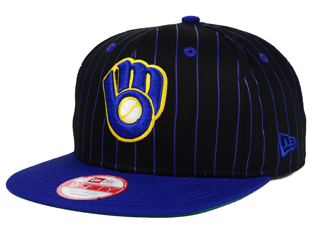 670fa67a1 Milwaukee Brewers New Era MLB Vintage Pinstripe 9FIFTY Snapback Cap