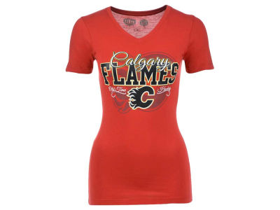 Calgary Flames Old Time Hockey NHL Womens Blue Line Vneck T-Shirt