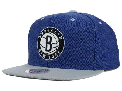 Brooklyn Nets Mitchell and Ness NBA Gray Denim Harry Snapback Cap
