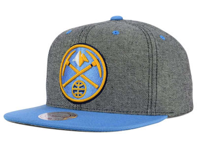 Denver Nuggets Mitchell and Ness NBA Gray Denim Harry Snapback Cap