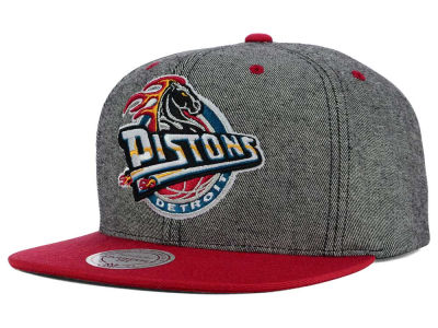 Detroit Pistons Mitchell and Ness NBA Gray Denim Harry Snapback Cap