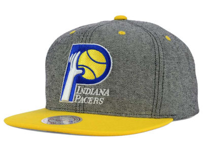 Indiana Pacers Mitchell and Ness NBA Gray Denim Harry Snapback Cap
