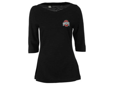 Ohio State Buckeyes NCAA Women's Stripe Knit 3/4 Sleeve T-Shirt