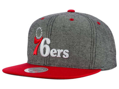 Philadelphia 76ers Mitchell and Ness NBA Gray Denim Harry Snapback Cap