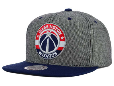 Washington Wizards Mitchell and Ness NBA Gray Denim Harry Snapback Cap