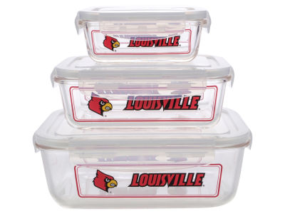 Louisville Cardinals 3-pack Glass Food Containers