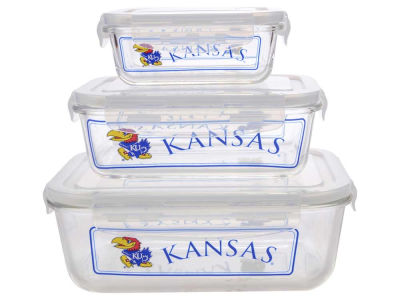 Kansas Jayhawks 3-pack Glass Food Containers