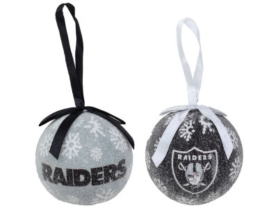 Oakland Raiders 2 pack Ball LED Ornaments