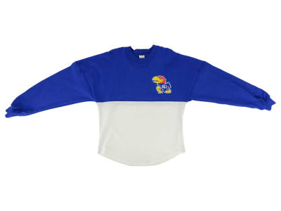Kansas Jayhawks NCAA Youth Girls Two-Tone Sweeper Long Sleeve T-Shirt