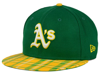 Oakland Athletics New Era MLB Team Plaid 9FIFTY Snapback Cap