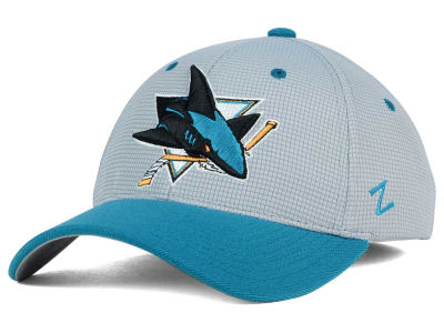 San Jose Sharks Zephyr NHL Gray Grid Flex Hat