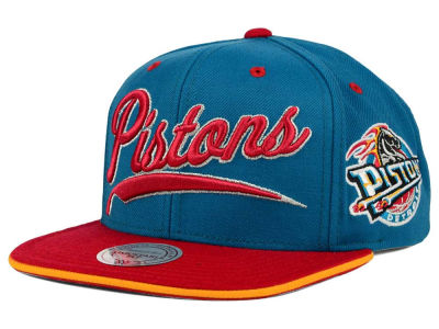 Detroit Pistons Mitchell and Ness NBA Billboard Script Snapback Cap