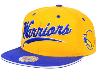 Golden State Warriors Mitchell and Ness NBA Billboard Script Snapback Cap