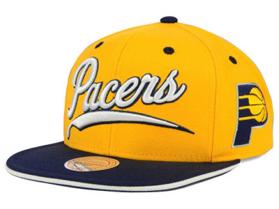 Indiana Pacers Mitchell and Ness NBA Billboard Script Snapback Cap