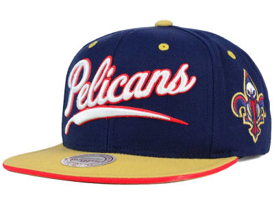 New Orleans Pelicans Mitchell and Ness NBA Billboard Script Snapback Cap