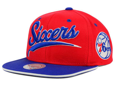 Philadelphia 76ers Mitchell and Ness NBA Billboard Script Snapback Cap