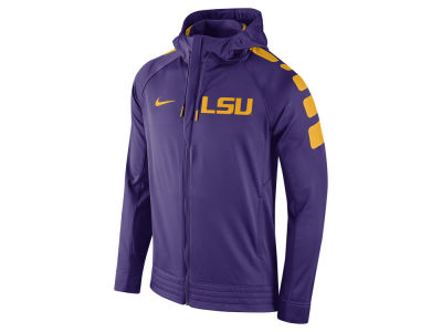 LSU Tigers Nike NCAA Men's Elite Stripe Basketball Performance Full Zip Hoodie