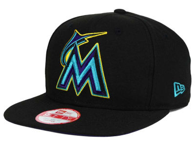 Miami Marlins New Era MLB Aqua Hook Basic 9FIFTY Snapback Cap