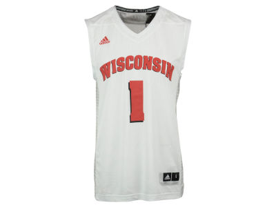 Wisconsin Badgers #1 adidas NCAA Men's Iced Out Replica Basketball Jersey