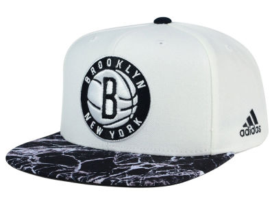 Brooklyn Nets adidas NBA 2016 White Marble Snapback Cap