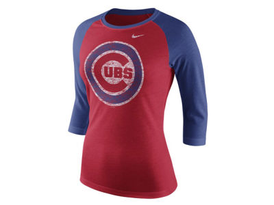 Chicago Cubs Nike MLB Women's Tri Logo Raglan T-Shirt