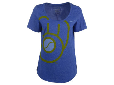 Milwaukee Brewers Nike MLB Women's Marled Scoop Logo T-Shirt