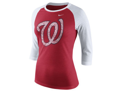 Washington Nationals Nike MLB Women's Tri Logo Raglan T-Shirt