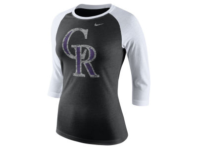 Colorado Rockies Nike MLB Women's Tri Logo Raglan T-Shirt