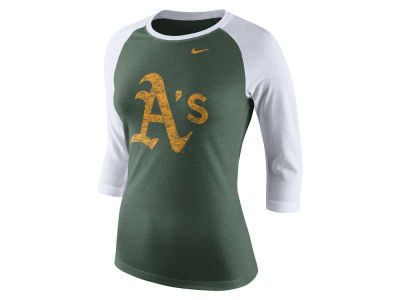 Oakland Athletics Nike MLB Women's Tri Logo Raglan T-Shirt